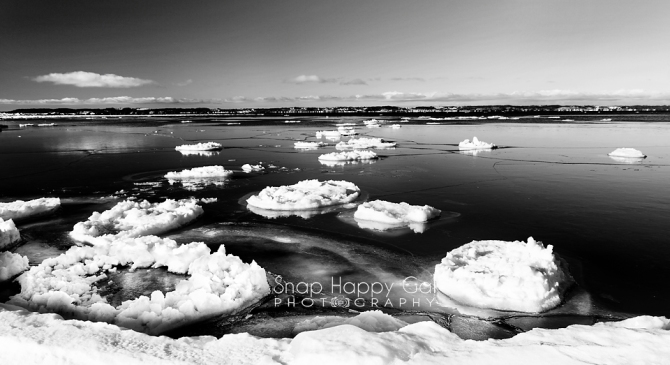 Elk Rapids Icebergs – Black and White