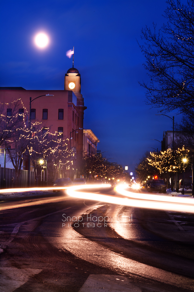Photo: light trails, moonrise, Traverse City