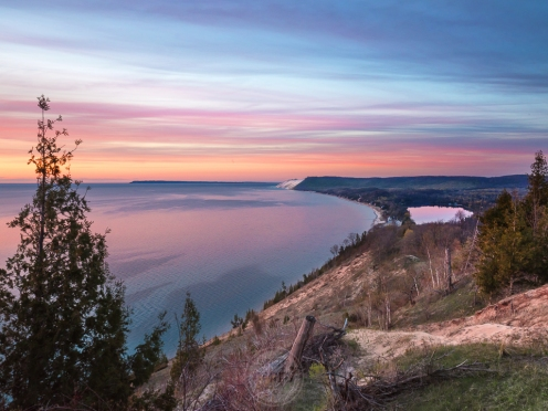 A rich sunset over Lake Michigan at the Empire Bluffs
