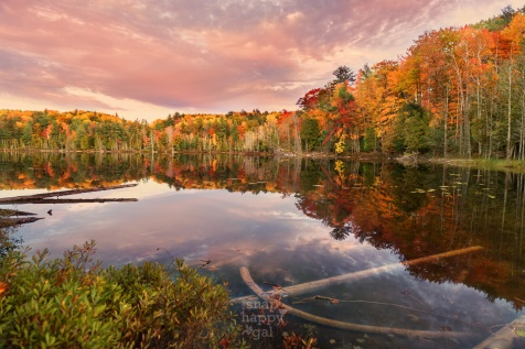 Fall colors and a pretty-in-pink sunset reflect off of Ransom Lake's surface in northern Michigan