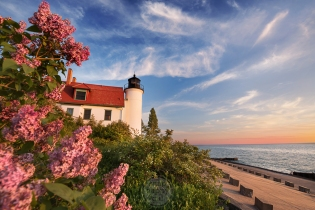 Point Betsie Lighthouse dressed in her finest spring accoutrements: lilacs