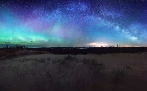Photo: Milky Way and Northern Lights - Sleeping Bear Dunes