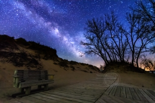 Photo: The Milky Way shines over a popular overlook along the Pierce Stocking Scenic Drive in Michigan's Sleeping Bear Dunes