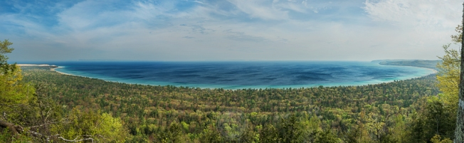 A sweeping view of Sleeping Bear Bay in Lake Michigan as viewed from Alligator Hill (panorama)
