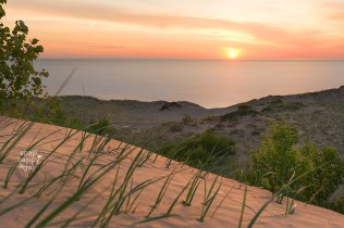 Dune grass perched high above Lake Michigan soaks in a peach-toned sunset