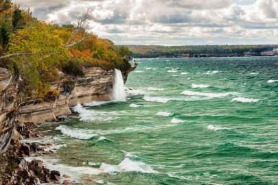 Spray Falls tumbles into Lake Superior at Pictured Rocks