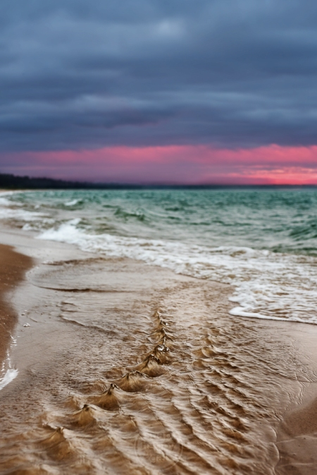 A small creek develops a spiny texture as it enters Good Harbor Bay (Lake Michigan)