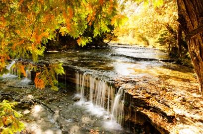 Photo: Golden vignette at the Au Train Falls