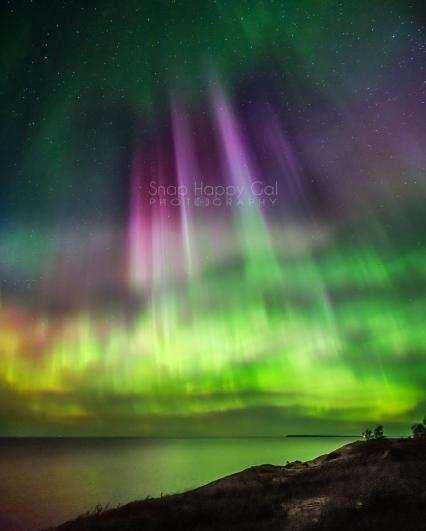 Photo: aurora over Lake Michigan in the Sleeping Bear Dunes