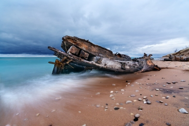 Photo: Lake Michigan shipwreck, Sleeping Bear Point