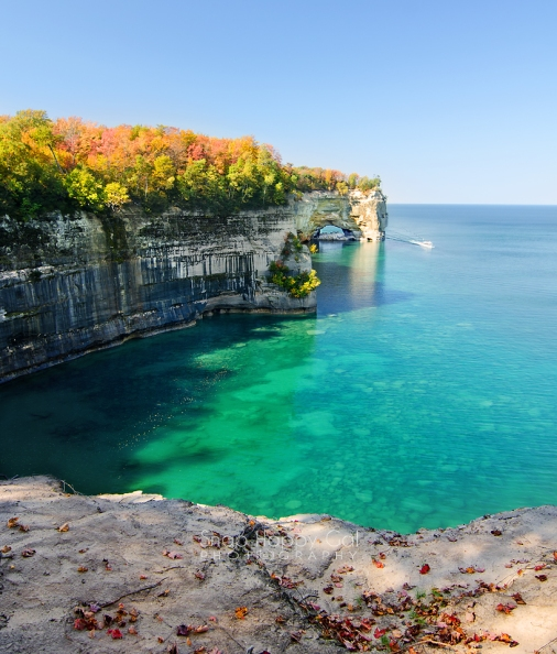 Photo: A Pictured Rocks National Lakeshore Cruise boat tours past Grand Portal Point on Lake Superior