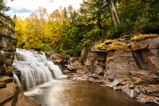 Photo: fall trees at Canyon Falls, Upper Peninsula Michigan