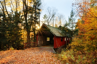Photo: red covered bridge, fall, Lake Ann, Michigan