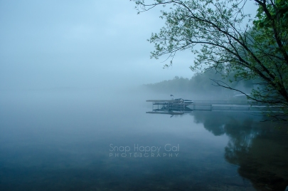 Photo: boat dock on Torch Lake, foggy morning