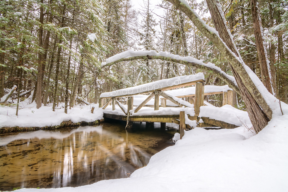 Photo: Snowy footbridge over creek - Grass River Natural Area