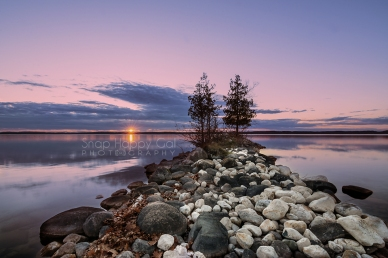 Photo: Purple sunset over a still lake
