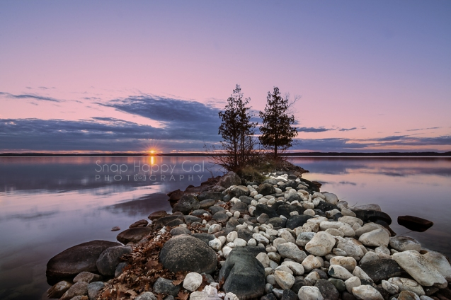 Photo: Purple sunset over a still lake