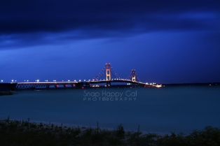 Photo: Blue twilight and the Mackinac Bridge