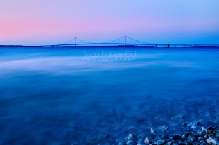 Photo: Rosy twilight at the Mackinac Bridge