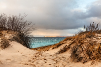 Photo: South Manitou Island from the Sleeping Bear Dunes