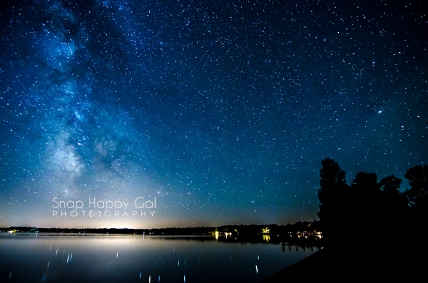 Photo: The Milky Way and tree silhouettes surround the north end of Torch Lake