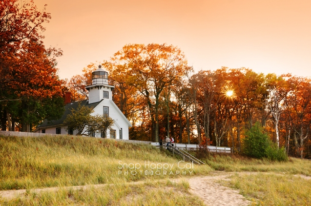 Photo: orange sunset at Mission Point Lighthouse - fall