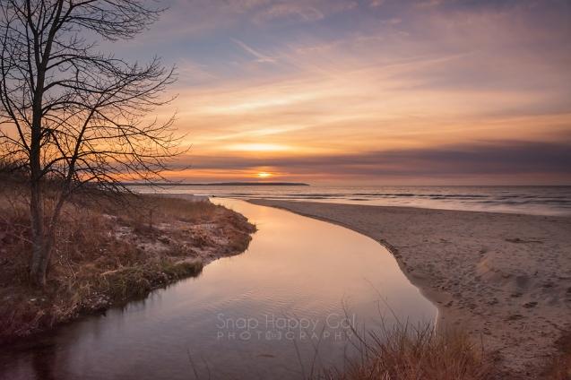 Photo: Sunset over Otter Creek, Lake Michigan