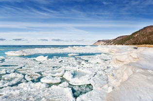 Photo: pancake ice formations floating on Lake Michigan