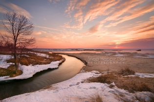 Photo: peach toned sunset at Otter Creek, Lake Michigan