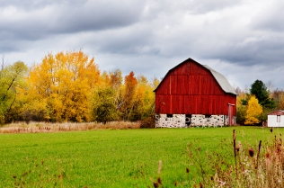 Photo: red barn, fall color