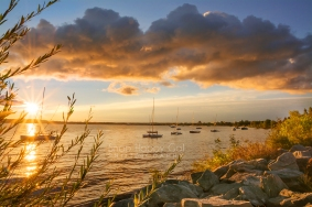 Photo: Sailboats along the shore in the morning light, Traverse City, Michigan