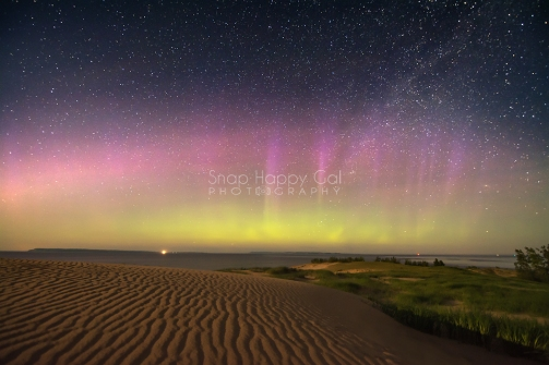 Photo: Aurora Borealis lights up sky - Sleeping Bear Dunes