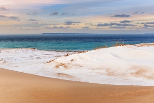 Photo: Layers in the dunes: sky, Lake Michigan, snow, sand.