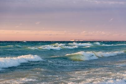 Photo: Crashing waves, purple sky, Lake Michigan