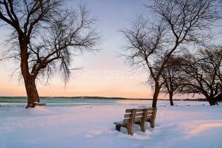 Photo: winter bench overlooking Lake Michigan