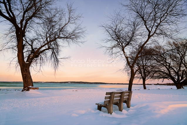 Photo: winter bench overlooking Lake Michigan