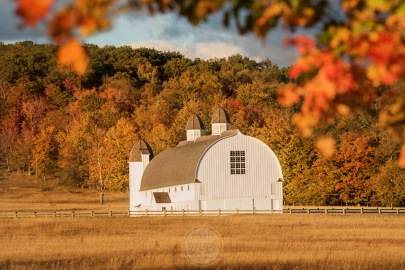 Fall foliage frames the iconic DH Day Barn in the Sleeping Bear Dunes