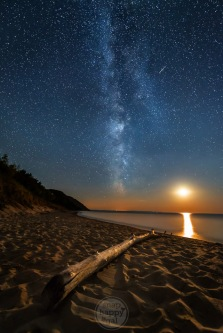The Milky Way Several Meteors And A Setting Moon Make Memorable Moment Together On