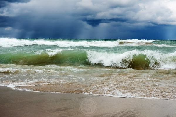 An autumn gales brings large waves to Lake Michigan beaches