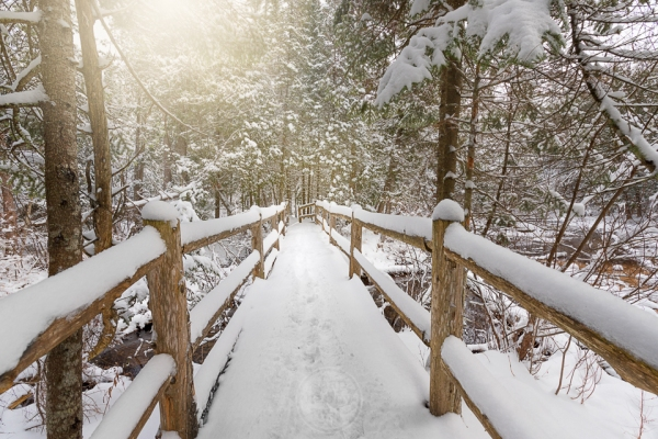 A snowy footbridge crosses a tributary to the Boardman River south of Traverse City