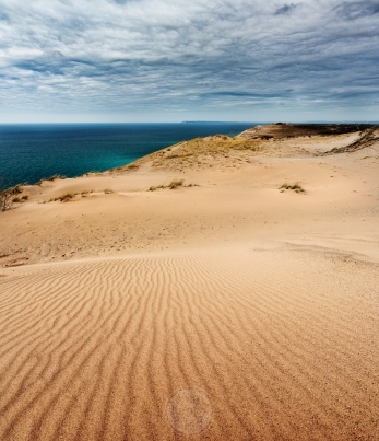Wavy lines for in untouched sand overlooking Lake Michigan in the Sleeping Bear Dunes