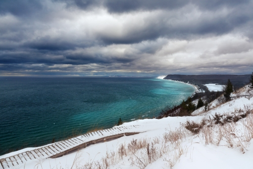 An ominous sky hangs over the Lake Michigan Overlook at Empire Bluffs