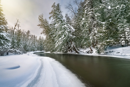 A classic Up North winter scene on Michigan's Boardman River