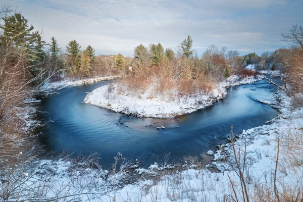 A hairpin turn in the frigid winter waters of the Boardman River, just south of Traverse City