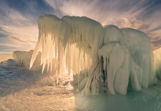 Icy Mammoths - an interesting ice formation found along Lake Michigan's shores at Point Betsie Lighthouse
