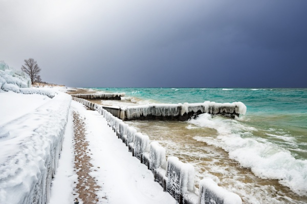 Betsie Blues - A lake effect snow squall bears down on Lake Michigan at Point Betsie Lighthouse