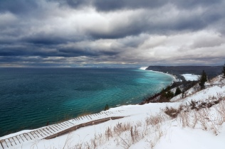 The always gorgeous Empire Bluffs overlooking Lake Michigan on a moody winter day