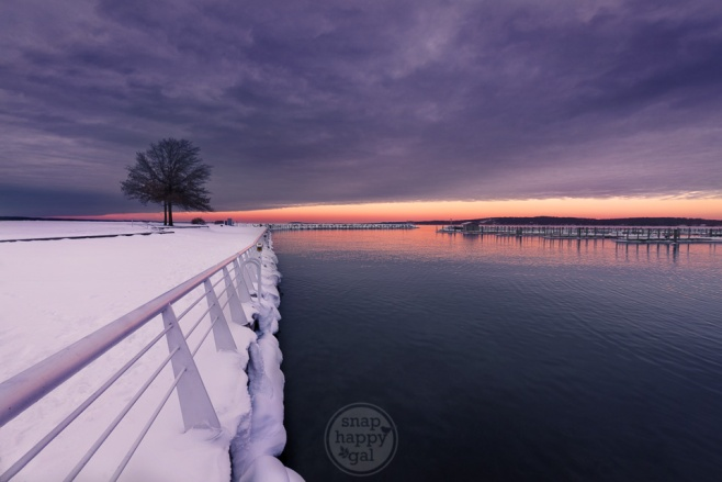 Purple Haze - A moody winter sunset at Traverse City's Clinch Marina