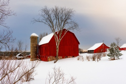 Red Barn in Snow - the sun tries to peek through on a snowy winter day