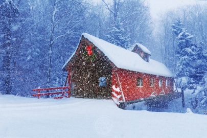 Christmas Covered Bridge - the red Loon Song Covered Bridge lights up a very snowy scene